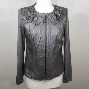 Peter Nygard Gray Leather & Knit Jacket Small